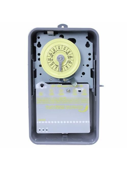 Intermatic T104R NEMA 3R Steel Case 208 to 277 VAC 60 Hz 40 Amp DPST Electromechanical Time Switch