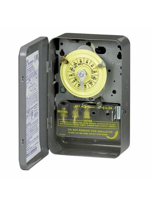 Intermatic T102 NEMA 1 Steel Case 208 to 277 VAC 60 Hz 40 Amp SPST Electromechanical Time Switch