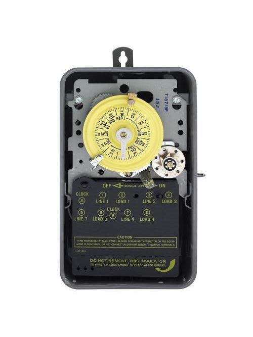 Intermatic T1871BR NEMA 3R Steel Case 125 VAC 60 Hz 40 Amp DPDT Electromechanical Time Switch with Clock Motor Terminal