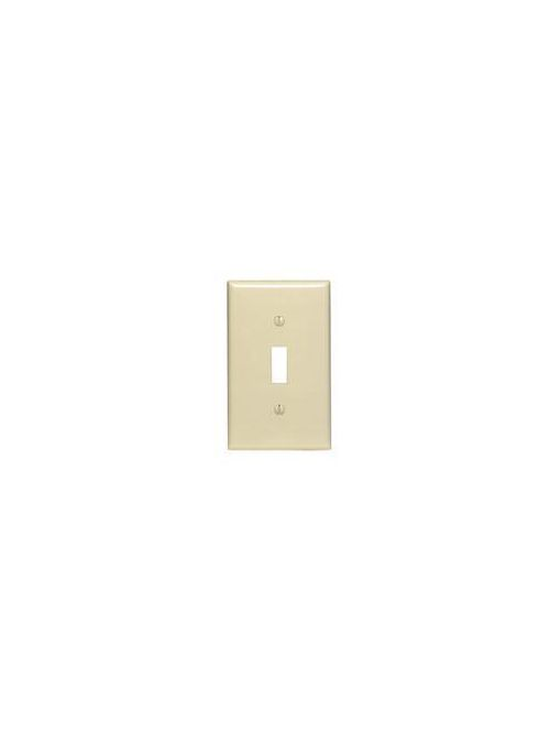 Leviton 80701-I 2.75 x 0.22 x 4.5 Inch 1-Gang Smooth Ivory Thermoplastic Nylon Device Mount Standard Toggle Switch Wallplate