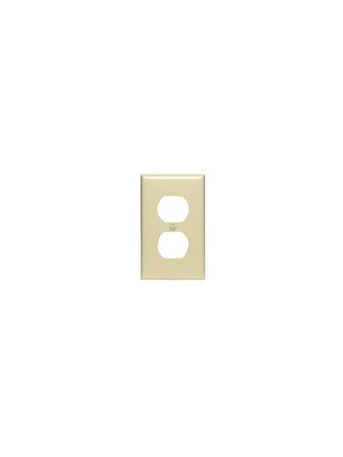 Leviton 80703-I 2.75 x 0.215 x 4.5 Inch 1-Gang Smooth Ivory Thermoplastic Nylon Device Mount Standard Receptacle Wallplate