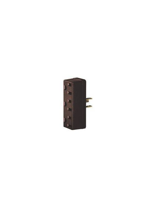 Leviton 697 125 Volt 15 Amp 2-Pole 3-Wire NEMA 5-15R Ivory Urea Plastic Grounding U-Ground Single to Triple Tap Adapter