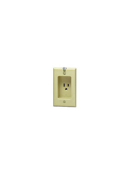 Leviton 688-I 125 Volt 15 Amp 2-Pole 3-Wire NEMA 5-15R 1-Gang Ivory Thermoplastic Grounding Recessed Clock Hanger Receptacle