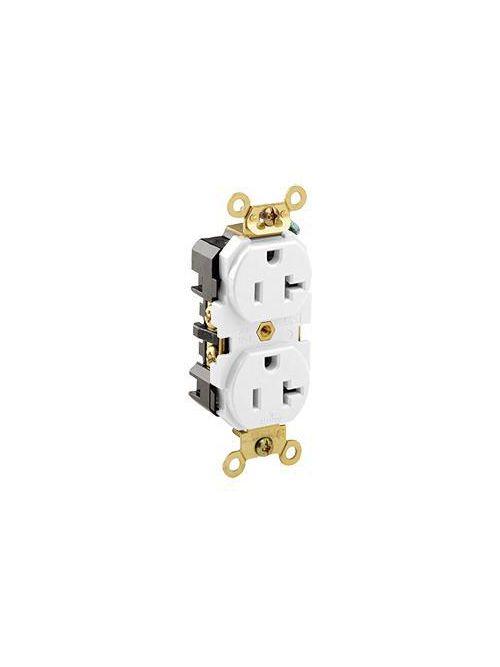 Leviton 5362-W 125 Volt 20 Amp 2-Pole 3-Wire NEMA 5-20R White Thermoplastic Nylon Straight Blade Duplex Receptacle