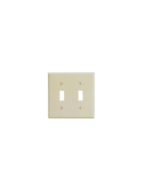 Leviton 86009 4.56 x 0.22 x 4.5 Inch 2-Gang Smooth Ivory Thermoset Device Mount Standard Toggle Switch Wallplate