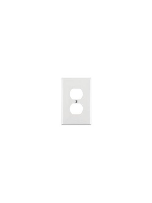 Leviton PJ8-W 1-Gang Midway Size Thermoplastic Nylon Device Mount White Duplex Device Receptacle Wallplate