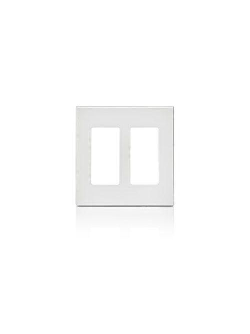 Leviton 80309-SW 4.56 x 0.22 x 4.5 Inch 2-Gang Smooth White Polycarbonate Snap-On Screwless Standard Wallplate