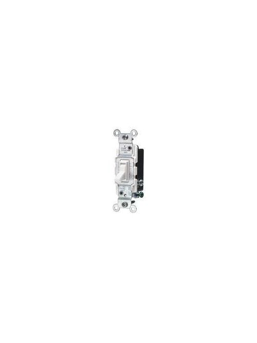 Leviton 1453-2W 120 VAC 15 Amp 1/2 Hp 3-Way White Thermoplastic Grounding Framed Toggle Quiet Switch