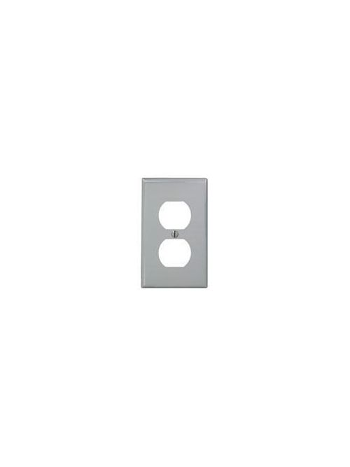 Leviton 80703-GY 2.75 x 0.215 x 4.5 Inch 1-Gang Smooth Gray Thermoplastic Nylon Device Mount Standard Receptacle Wallplate