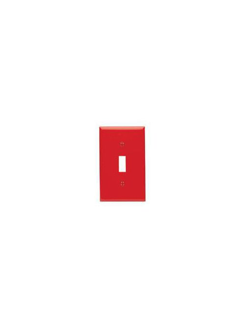 Leviton 80701-R 1-Gang Toggle Device Mount Standard Size Thermoplastic Nylon Red Switch Wallplate