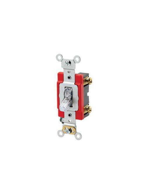 Leviton 1221-PLC 120 VAC 20 Amp 1-Pole 1 Hp Clear Thermoplastic Self Grounding Illuminated Toggle Quiet Switch