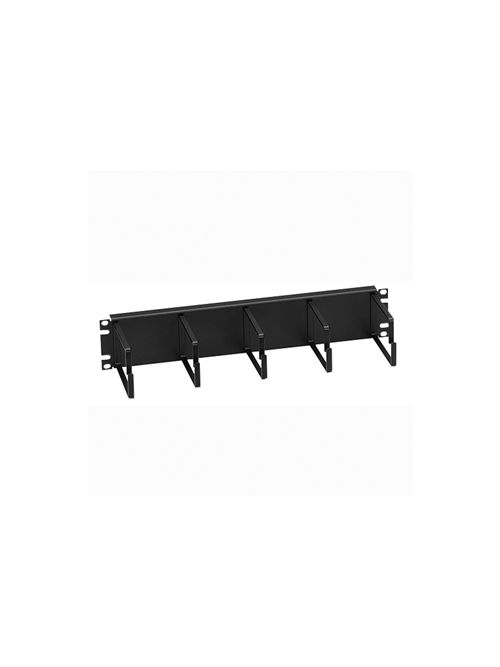 Leviton 49253-BCM 19 x 4.5 x 3.47 Inch Black 16 Gauge Steel Horizontal 2-Rack Unit 5-Ring Flat Cable Manager