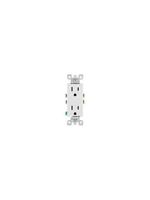 Leviton 5325-W 125 Volt 15 Amp 2-Pole 3-Wire NEMA 5-15R White Thermoplastic Decorator Straight Blade Duplex Receptacle
