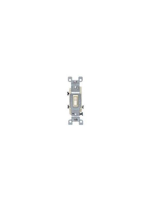 Leviton 1453-2T 120 VAC 15 Amp 1/2 Hp 3-Way Light Almond Thermoplastic Grounding Framed Toggle Quiet Switch