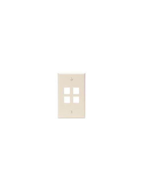 Leviton 41080-4TP 2.75 x 0.45 x 4.5 Inch 1-Gang 4-Port Light Almond Plastic Flush Mount Wallplate