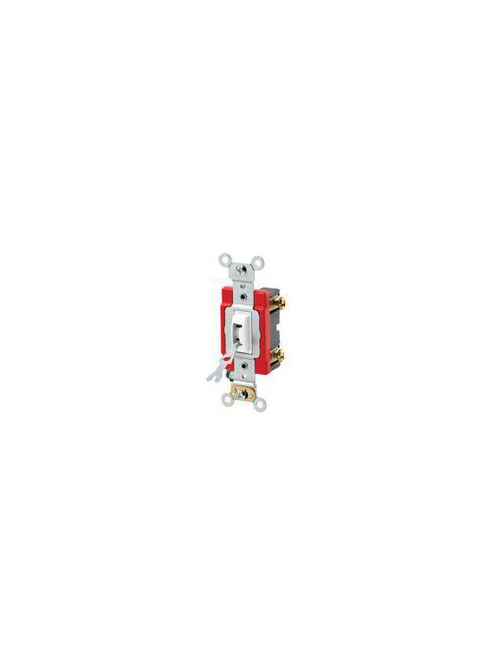 Leviton 1221-2WL 120/277 VAC 20 Amp 1-Pole 2 Hp White Thermoplastic Self Grounding Locking Toggle Quiet Switch