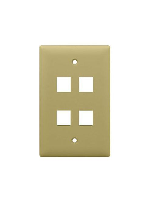 On-Q WP3404-IV 1-Gang 4-Port Ivory High Impact Flame Retardant Plastic Keystone Wallplate