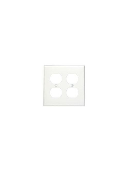 2-Gang Duplex Device Receptacle Wallplate, Standard Size, Thermoset, Device Mount - White