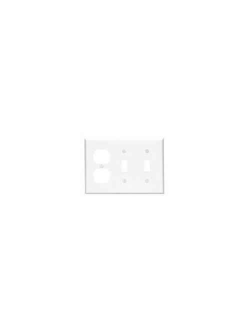 Leviton 88021 6.38 x 0.22 x 4.5 Inch 3-Gang Smooth White Thermoset Device Mount Standard Combination Wallplate