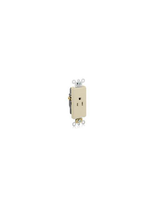Leviton 16251-I 125 Volt 15 Amp 2-Pole 3-Wire NEMA 5-15R 1/2 Hp Ivory Thermoplastic Nylon Straight Blade Single Receptacle