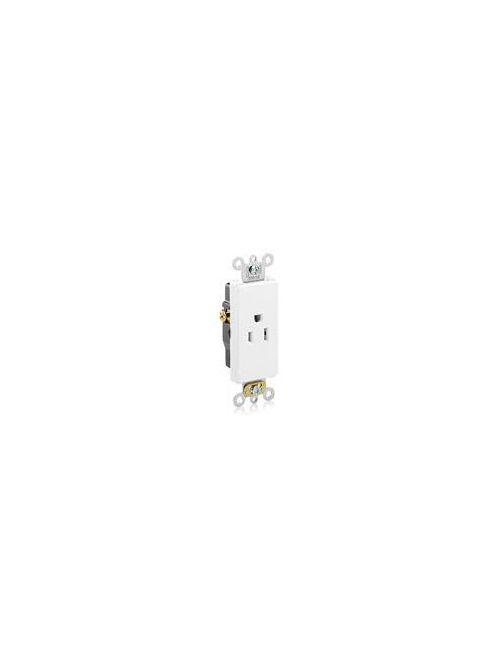 Leviton 16251-W 125 Volt 15 Amp 2-Pole 3-Wire NEMA 5-15R 1/2 Hp White Thermoplastic Nylon Straight Blade Single Receptacle