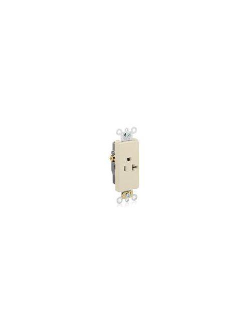 Leviton 16351-I 125 Volt 20 Amp 2-Pole 3-Wire NEMA 5-20R 1 Hp Ivory Thermoplastic Nylon Straight Blade Single Receptacle