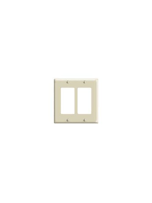 Leviton 80409-NI 4.56 x 0.22 x 4.5 Inch 2-Gang Smooth Ivory Thermoplastic Nylon Device Mount Standard Receptacle Wallplate