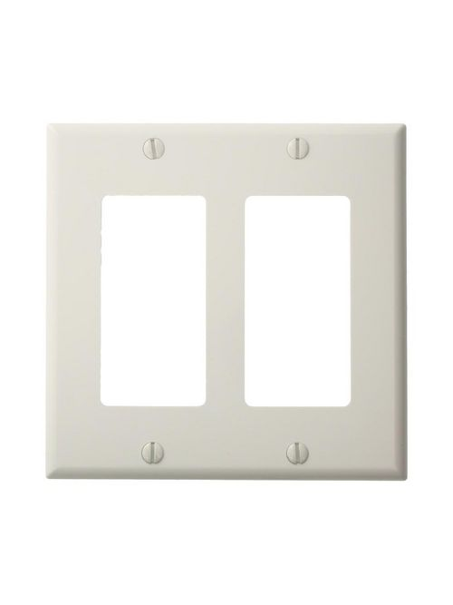 Leviton 80409-NW 4.56 x 0.22 x 4.5 Inch 2-Gang Smooth White Thermoplastic Nylon Device Mount Standard Receptacle Wallplate