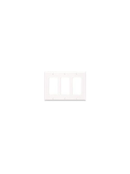 Leviton 80411-W 6.38 x 0.22 x 4.5 Inch 3-Gang Smooth White Thermoset Device Mount Standard Receptacle Wallplate