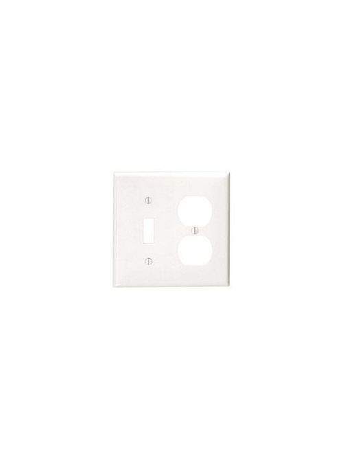 Leviton 80705-W 4.56 x 0.22 x 4.5 Inch 2-Gang Smooth White Thermoplastic Nylon Device Mount Standard Combination Wallplate