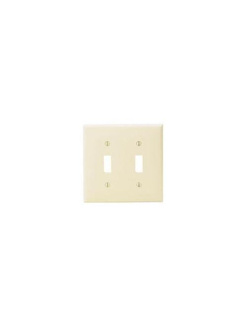 Leviton 80709-E 4.56 x 0.22 x 4.5 Inch 2-Gang Smooth Black Thermoplastic Nylon Device Mount Standard Toggle Switch Wallplate