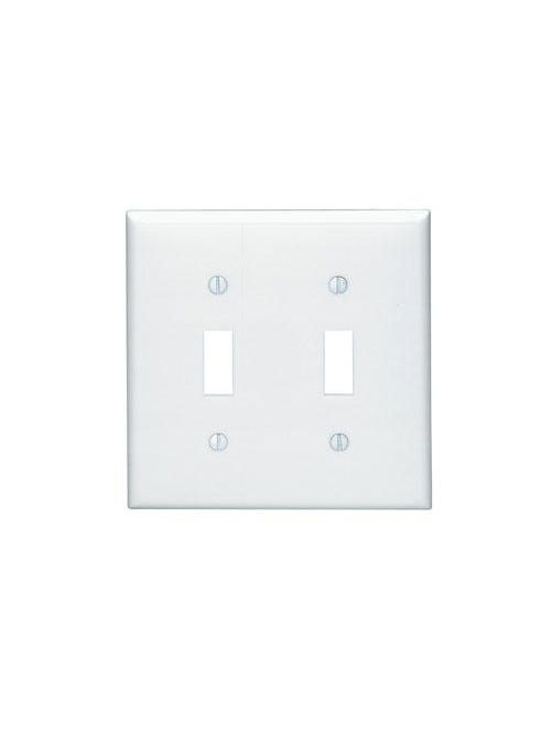 Leviton 80709-W 4.56 x 0.22 x 4.5 Inch 2-Gang Smooth White Thermoplastic Nylon Device Mount Standard Toggle Switch Wallplate