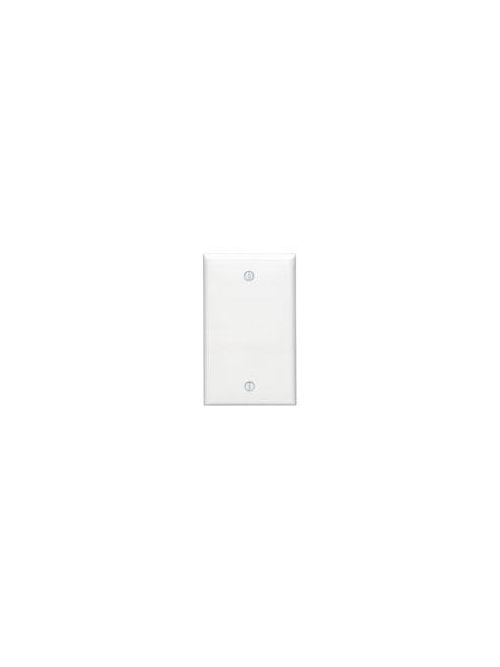Leviton 80714-W 2.75 x 0.22 x 4.5 Inch 1-Gang Smooth White Thermoplastic Nylon Box Mount Standard Blank Wallplate