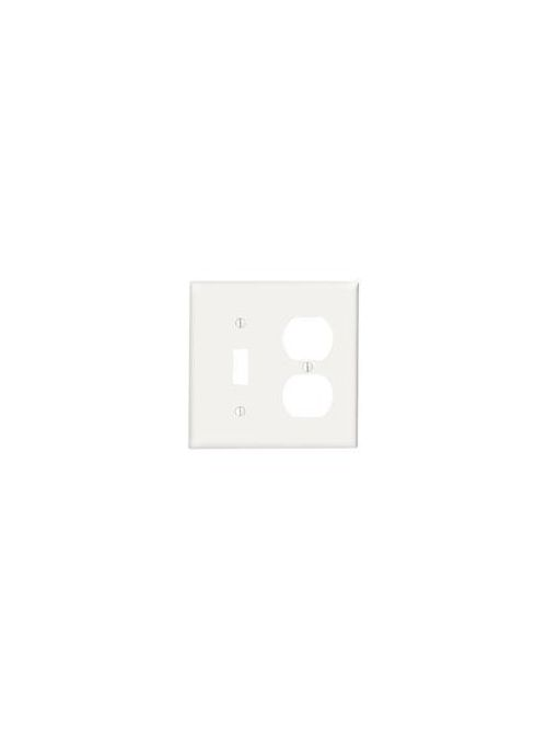 Leviton 88005 4.56 x 0.22 x 4.5 Inch 2-Gang Smooth White Thermoset Device Mount Standard Duplex Combination Wallplate
