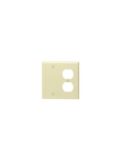Leviton 86008 4.56 x 0.22 x 4.5 Inch 2-Gang Smooth Ivory Thermoset Box Mount Standard Combination Wallplate