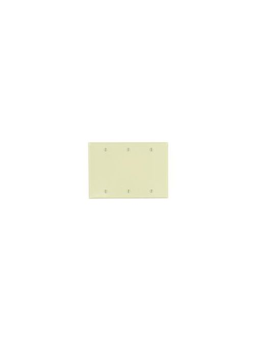 Leviton 86033 6.38 x 0.22 x 4.5 Inch 3-Gang Smooth Ivory Thermoset Box Mount Standard Blank Wallplate