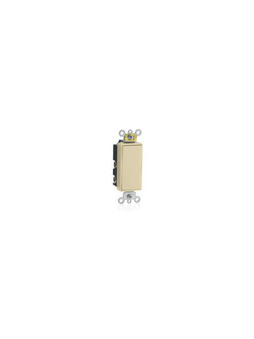 Leviton 5657-2I 120/277 VAC 15 Amp SPDT 2 Hp Ivory Thermoplastic Self Grounding Momentary Contact Rocker Quiet Switch