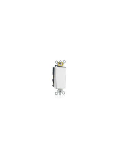 Leviton 5657-2W 120/277 VAC 15 Amp SPDT 2 Hp White Thermoplastic Self Grounding Momentary Contact Rocker Quiet Switch