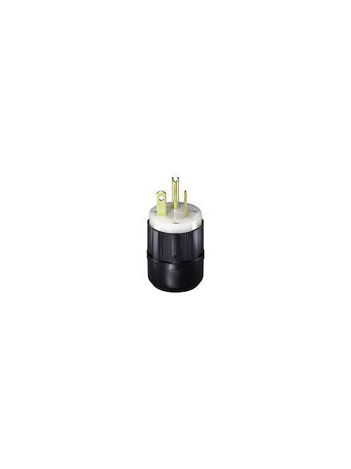 Leviton 5366-C 125 Volt 20 Amp 2-Pole 3-Wire NEMA 5-20P Black/White Nylon Grounding Straight Blade Plug