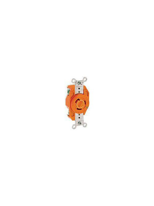 Leviton 2310-IG 125 Volt 20 Amp 2-Pole 3-Wire NEMA L5-20R 1 Hp Orange Resin 357 Flush Mount Locking Receptacle