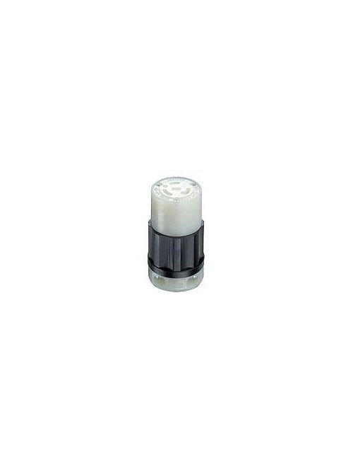 Leviton 2323 250 Volt 20 Amp 2-Pole 3-Wire NEMA L6-20R 2 Hp Black/White Nylon Grounding Locking Connector
