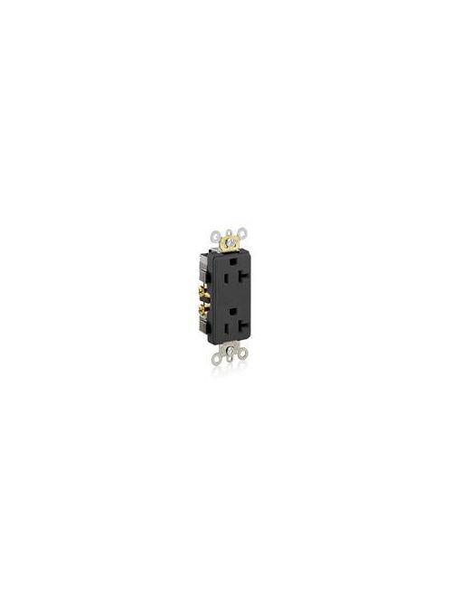Leviton 16342-E 125 Volt 20 Amp 2-Pole 3-Wire NEMA 5-20R 1 Hp Black Thermoplastic Nylon Straight Blade Duplex Receptacle