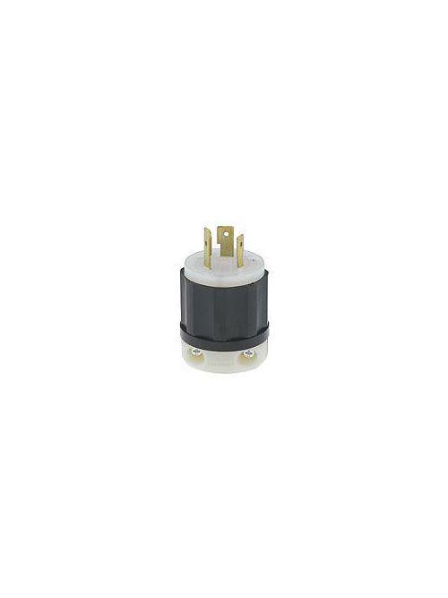 Leviton 2341 480 Volt 20 Amp 2-Pole 3-Wire NEMA L8-20P 3 Hp Black/White Nylon Grounding Polarized Locking Plug