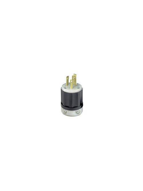 Leviton 2621 250 Volt 30 Amp 2-Pole 3-Wire NEMA L6-30P 2 Hp Black/White Nylon Grounding Locking Plug