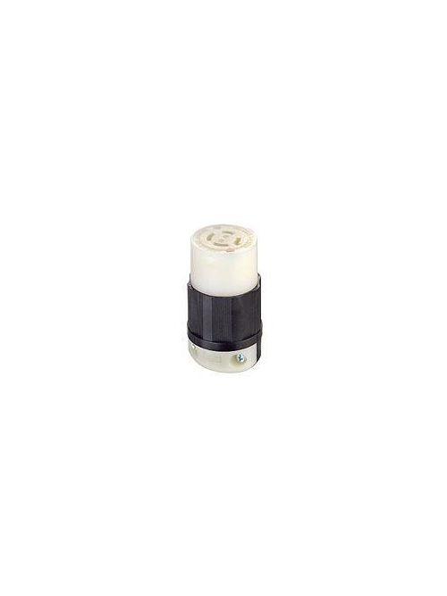 Leviton 2433 480 Volt 3-Phase 20 Amp 3-Pole 4-Wire NEMA L16-20R Black/White Nylon Grounding Locking Connector