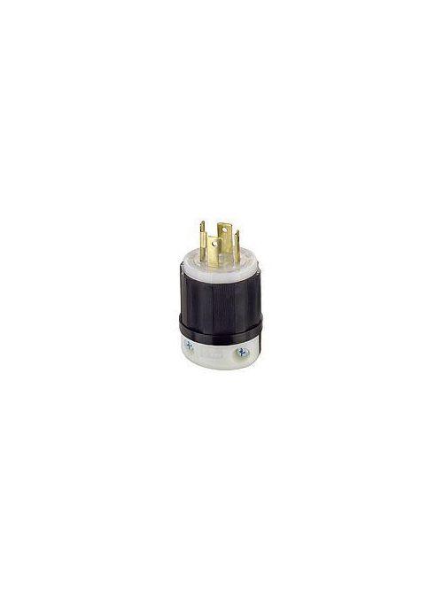 Leviton 2711 125/250 Volt 30 Amp 3-Pole 4-Wire NEMA L14-30P 2 Hp Black/White Nylon Grounding Locking Plug