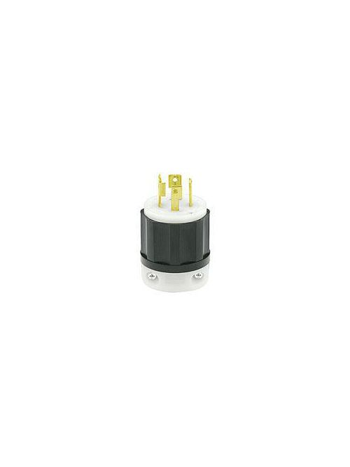 Leviton 2721 250 Volt 3-Phase 30 Amp 3-Pole 4-Wire NEMA L15-30P 3 Hp Black/White Nylon Grounding Locking Plug