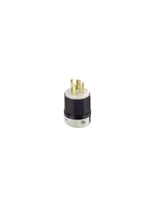 Leviton 2731 480 Volt 3-Phase 30 Amp 3-Pole 4-Wire NEMA L16-30P 10 Hp Black/White Nylon Grounding Locking Plug