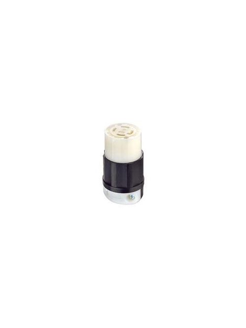 Leviton 2723 250 Volt 3-Phase 30 Amp 3-Pole 4-Wire NEMA L15-30R 3 Hp Black/White Nylon Grounding Locking Connector