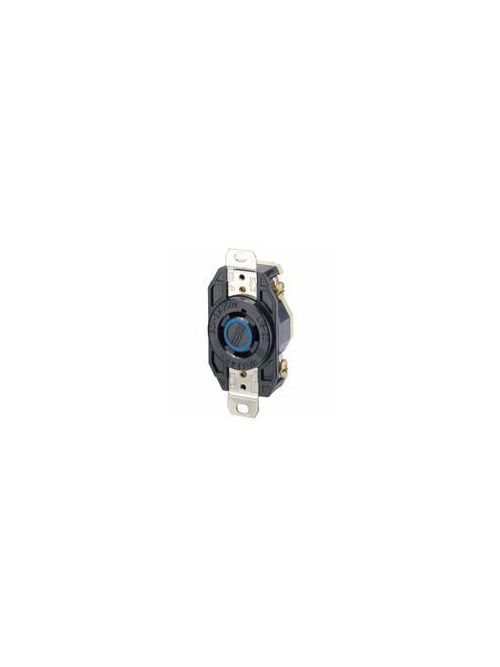 Leviton 2420 250 Volt 20 Amp 3-Pole 4-Wire NEMA L15-20R 3 Hp Black Nylon Grounding Flush Mount Locking Receptacle